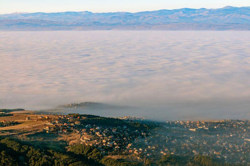 fog, foggy, city, landscape, mountain, house, sky, sun, sunset Foggy Sofiaphoto preview