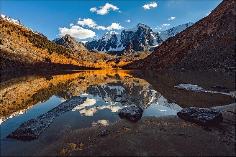 алтай,озеро,шавлинское,осень,золотая,горы ,лиственница Закат на Шавлинском озереphoto preview