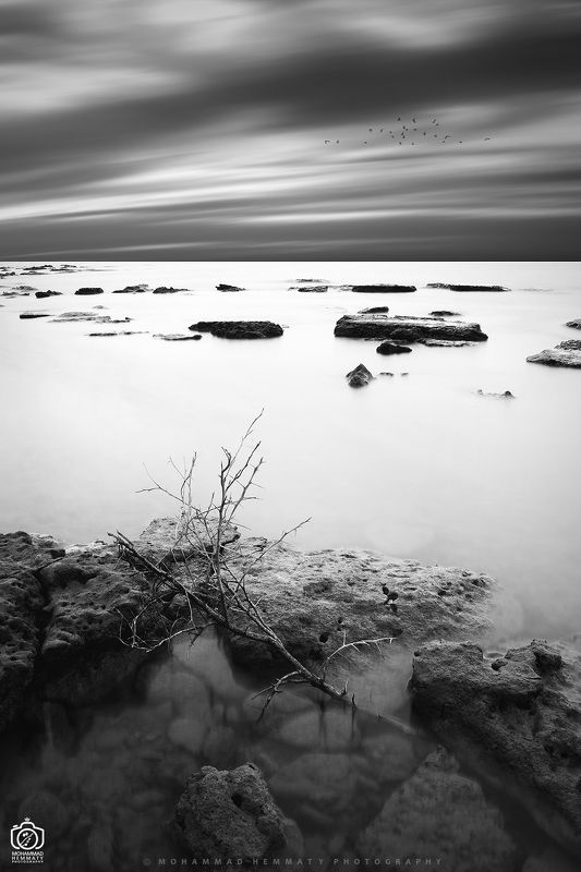 sea,nature,rock,water,calm,landscape,iran,dream,fog,abstract,canon,canon80d,canonphotography,blackandwhite,black,white,mphammadhemmaty Billowy clouds & calm seaphoto preview