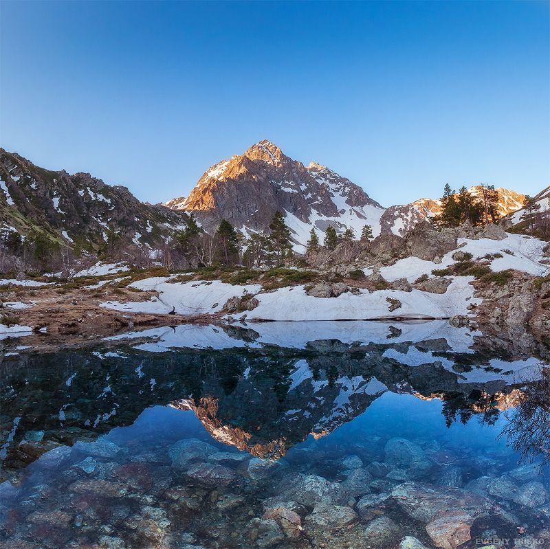 Озеро, Кавказ, Архыз, рассвет, горы, вершина, пик,  Чистейшее озероphoto preview