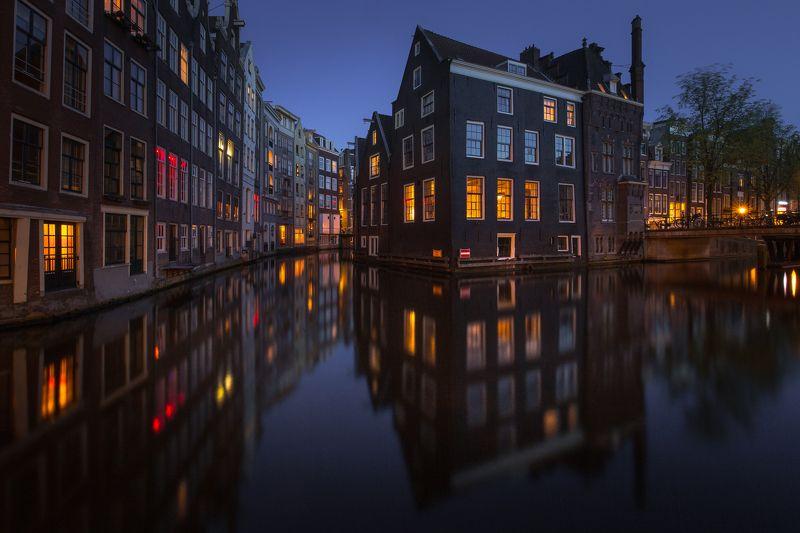 канал архитектура ночь свет Lights of Amsterdamphoto preview
