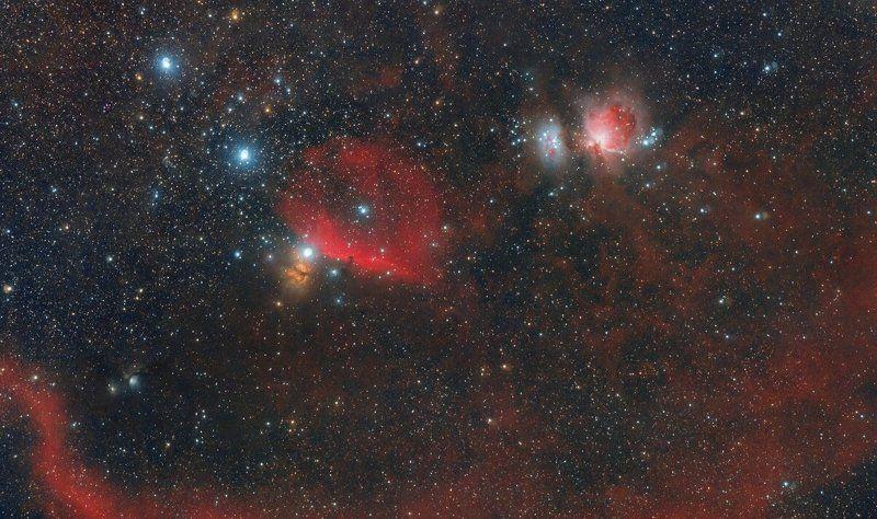 Космос, Орион, Петля Барнард, M42, M43, М78 (NGC 2068), Flame NGC 2024, Alnilam, Alnitak, Mintaka Петля Барнарда в созвездии Орионаphoto preview