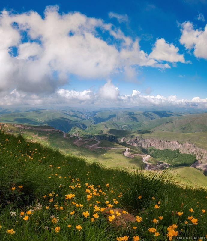 горы, кавказ, малка, Джилы-су, лютики, цветы, дорога, облака Спуск в ущелье реки Малкаphoto preview