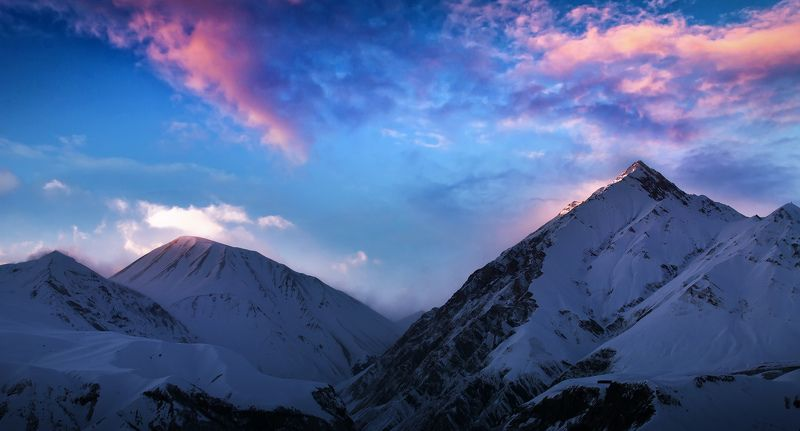 пейзаж, зима, зимний, горы, грузия, гудаури, закат, снег Sunsetphoto preview