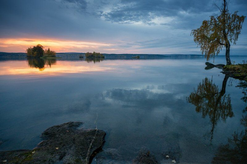 средиий урал, таватуй, закат, сентябрь Вечер на озереphoto preview