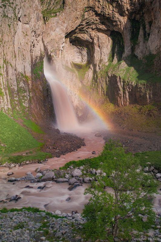 горы, кавказ,  Джилы-су, водопад, радуга, река, скалы, ND, Радужный водопад Каракая-суphoto preview