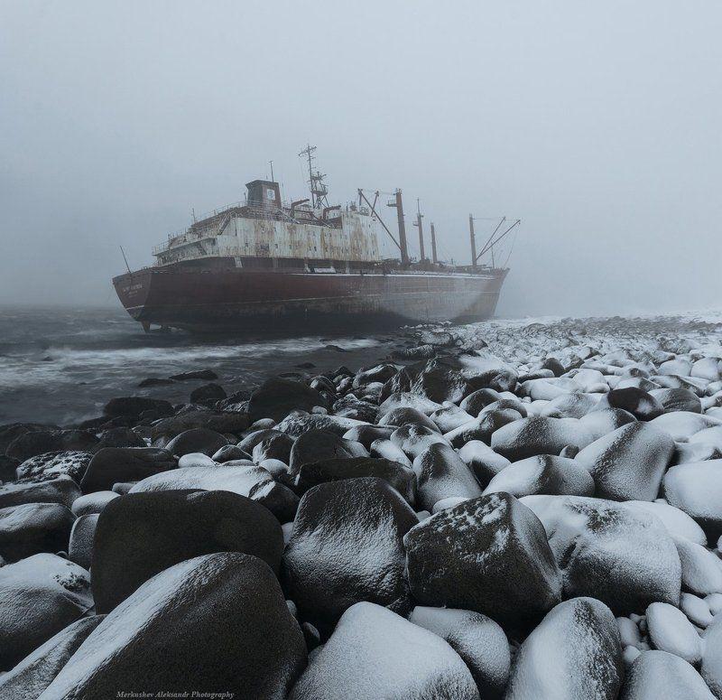 заполярье, кольский п-ов, баренцево море, побережье, шторм, снег ***photo preview