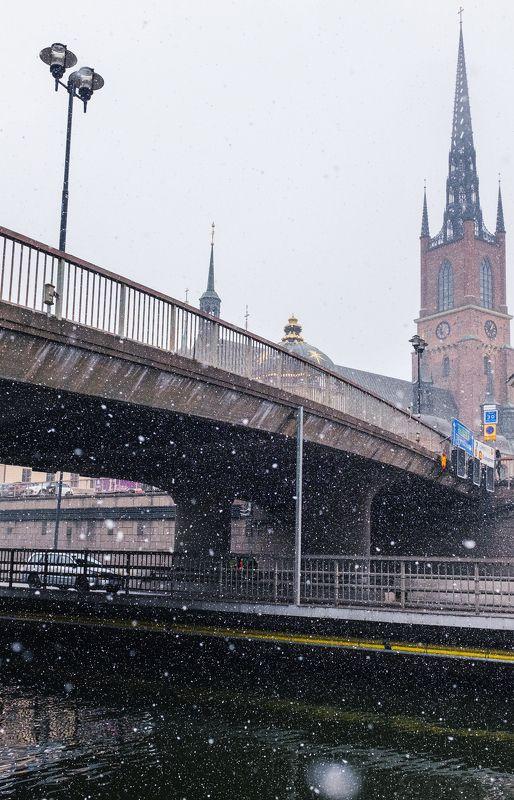 стокгольм, пейзаж, город, снег, архитектура Снег в Стокгольмеphoto preview