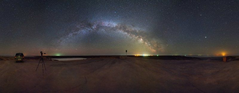 млечный путь, эльтон, космос, панорама Ночь на озере Эльтонphoto preview