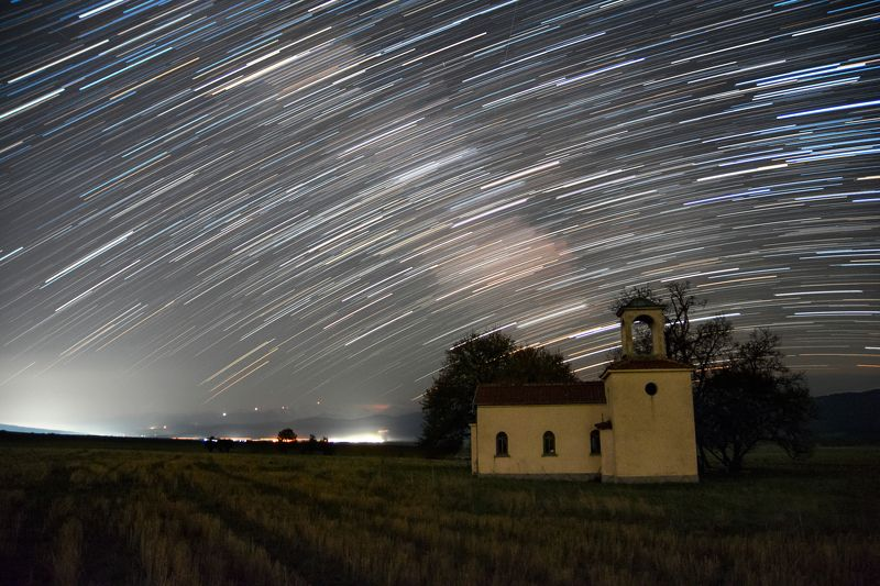 sky, stars, trails, nature, landscape, night, light, Church Churchphoto preview