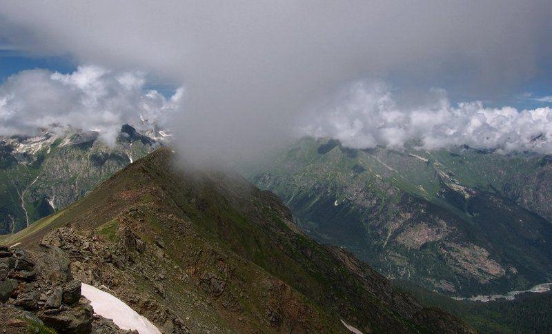 горы, пейзаж, кавказ, домбай, небо, ледники, облака, снег Есть контакт!photo preview
