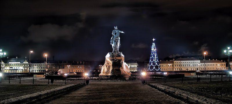 сенатская, площадь, медный, всадник, ночь, зима, питер Сенатская площадь.photo preview