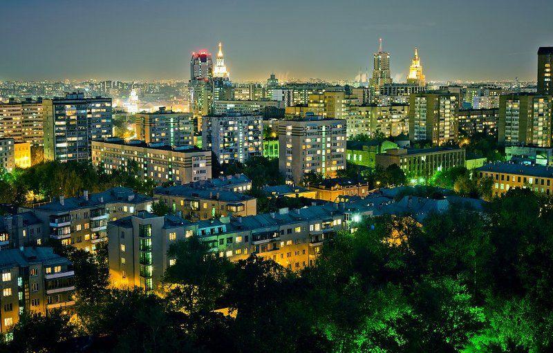 крыша, крыши, город, москва, ночь ...photo preview