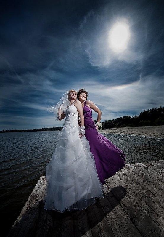 девушки, свадьба, модели, небо, пирс, вода photo preview