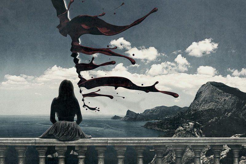 коллаж, кровь, перила, горы, небо Bleeding of realityphoto preview