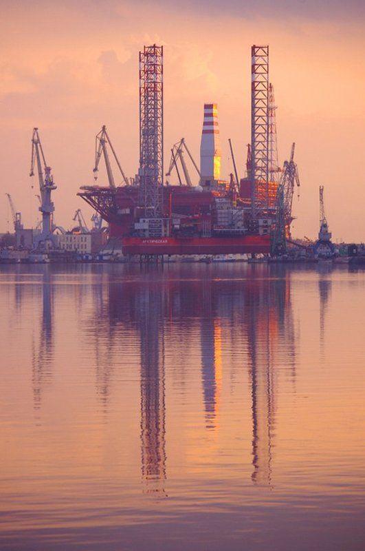плавучая платформа, приразломная, закат, северодвинск ***photo preview