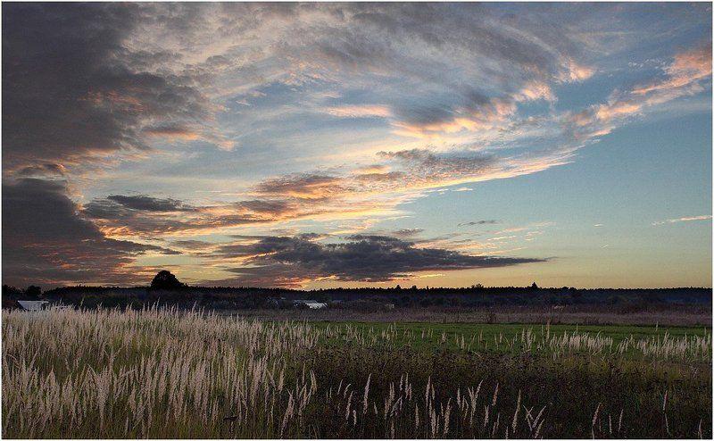 вечер, закат, поле, деревня Закатнаяphoto preview