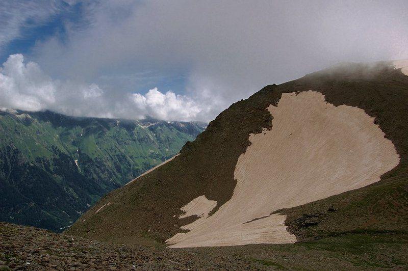 горы, пейзаж, кавказ, домбай, небо, вершины, облака, снег Крыло мотылька...photo preview