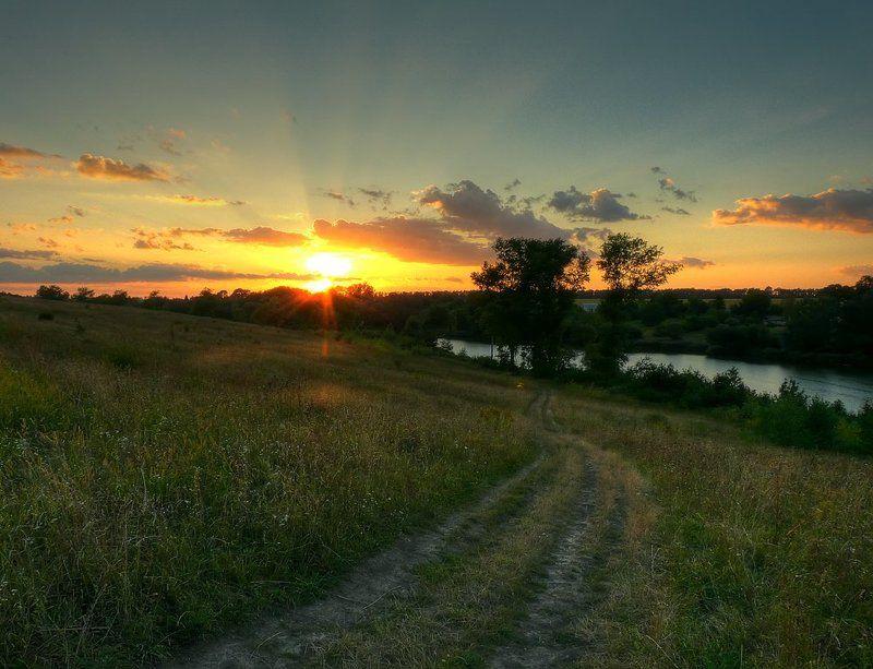 пейзаж, закат, дорога, пруд, деревья photo preview