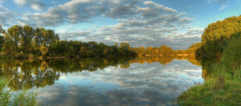 панорама, пейзаж, пруд, облака, деревья photo preview