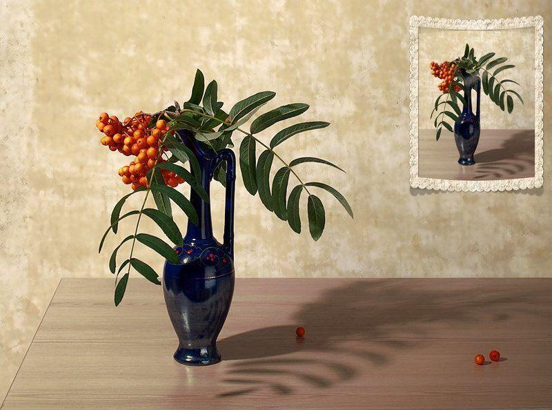 funtry, букет, ваза, композиция, натюрморт, рябина, тень Бабье летоphoto preview