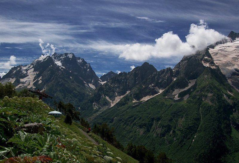 горы, пейзаж, кавказ, домбай, небо, ледники, облака, снег Планета Домбайphoto preview
