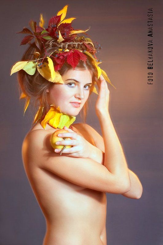 листья, осень, урожай, яблоко, девушка ***photo preview