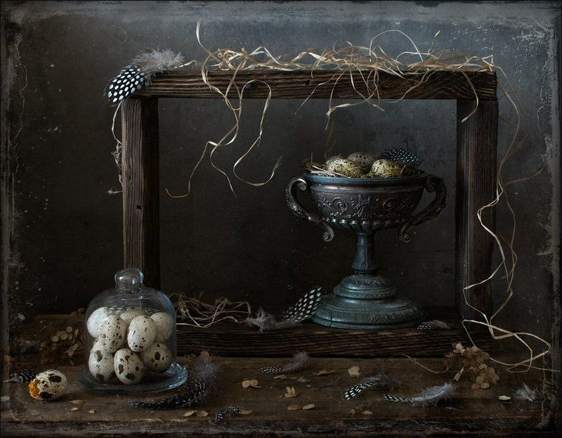 натюрморт , перепелиные перья, гнездо, яйцо Перепелино-гнездовой 3photo preview