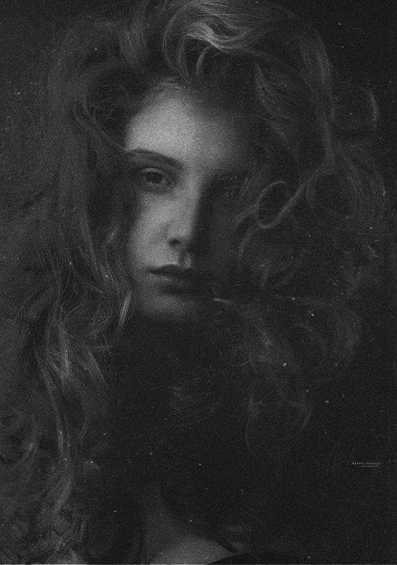 портрет,арт-фото,черно-белое,девушка,взгляд, Последний снегphoto preview
