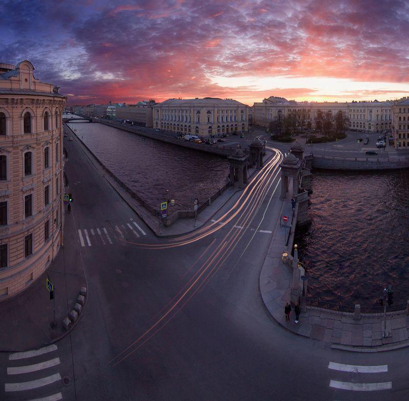 санкт-петербург, российская федерация, город, панорама, закат Ломоносовский мост, Санкт-Петербургphoto preview