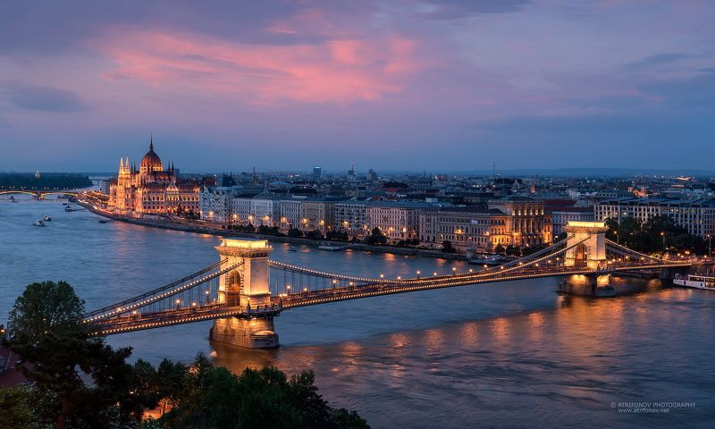 Budapest, Szechenyi, chain bridge, Parliament, Hungary, Danube, river, cityscape, sunset Budapest by nightphoto preview