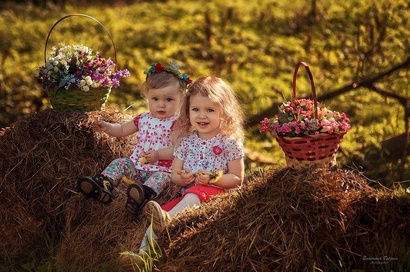 сестры, природа, парк, сеновал, цветы, детство сестры photo preview