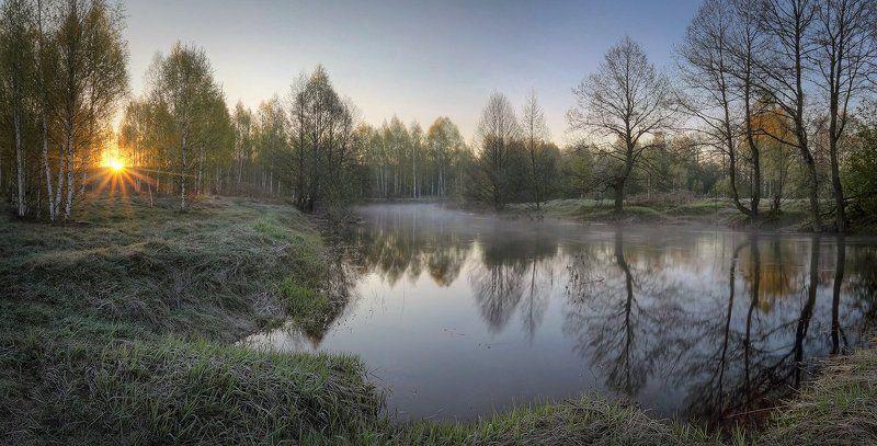 природа, рассвет, восход, утренняя зорька, Нижегородская область, Бархатов, Кеза, река, туман Майский рассветphoto preview