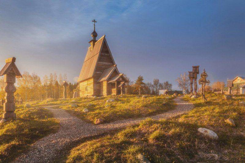 плес, левитан, утро, рассвет, гора, храм, церковь Утро на горе Левитанаphoto preview