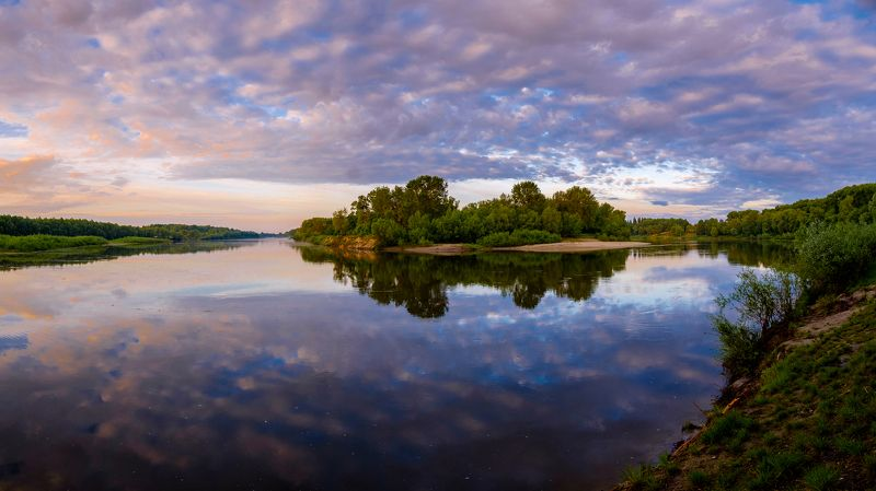 пейзаж, река, утро, природа, рассвет, nature, landscape, sunrise, sky, clouds Отражения рассветаphoto preview