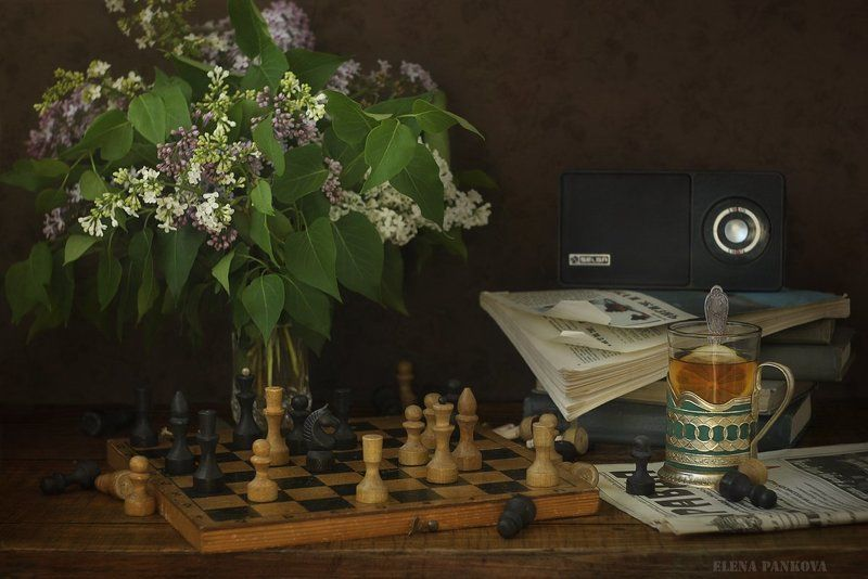 ретро, винтаж, сирень, шахматы, книги ***photo preview
