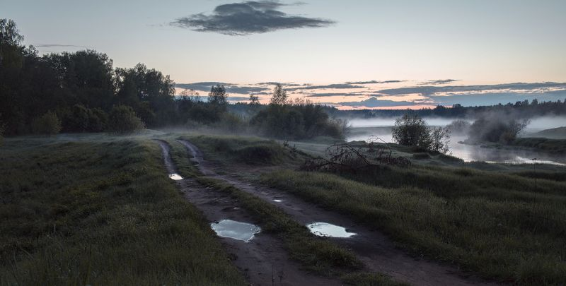 Тверь, Тверская область, Туман, Закат Тверская область. р. Тьмаphoto preview