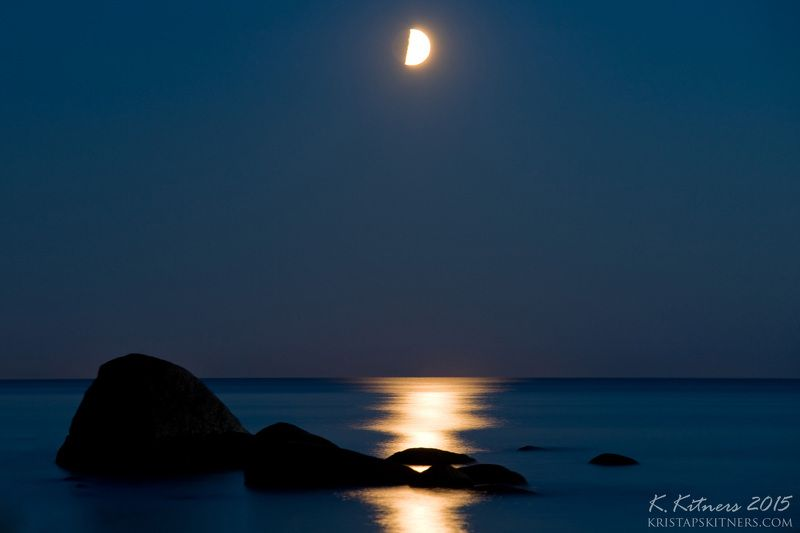 sea water moon light track stone silhouette seascape night The Moon Trackphoto preview
