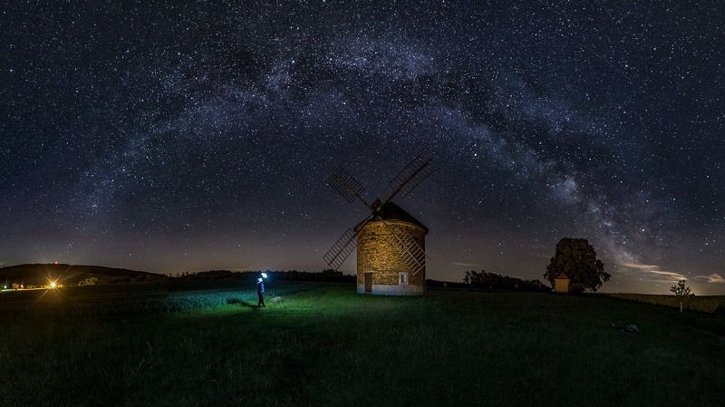 windmill, mill, night, milky, way, milkyway, moravia, czach republic windmillphoto preview