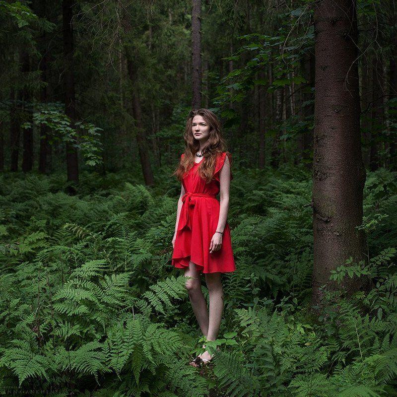 портрет, женский портрет, красное платье, природа, лес, пленер, девушка, red dress, woman, nature, forest, portrait Красное платьеphoto preview