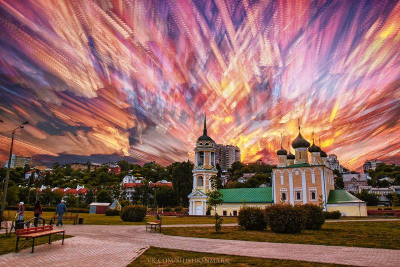облака, облако, красота, природа, пейзаж, небо Огненные перьяphoto preview