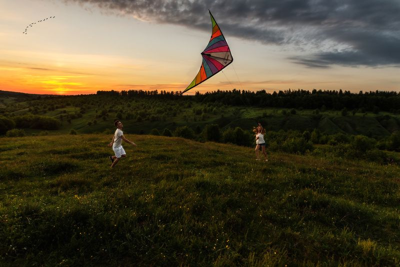 полет, закат, Love Story, птицы Полет photo preview