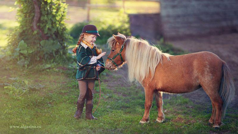 дети ребенок малыш детская фотография девочка пони Рыженькиеphoto preview