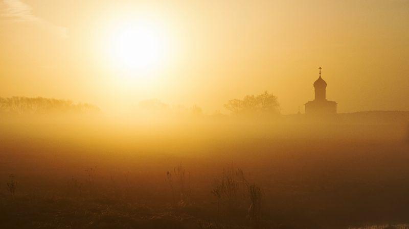 храм, архитектура, рассвет, туман, красота, пейзаж, солнце Там, за туманомphoto preview