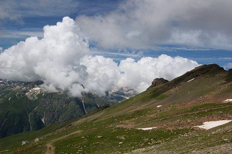 горы, пейзаж, кавказ, домбай, небо, вершины, облака, снег Про облака...photo preview