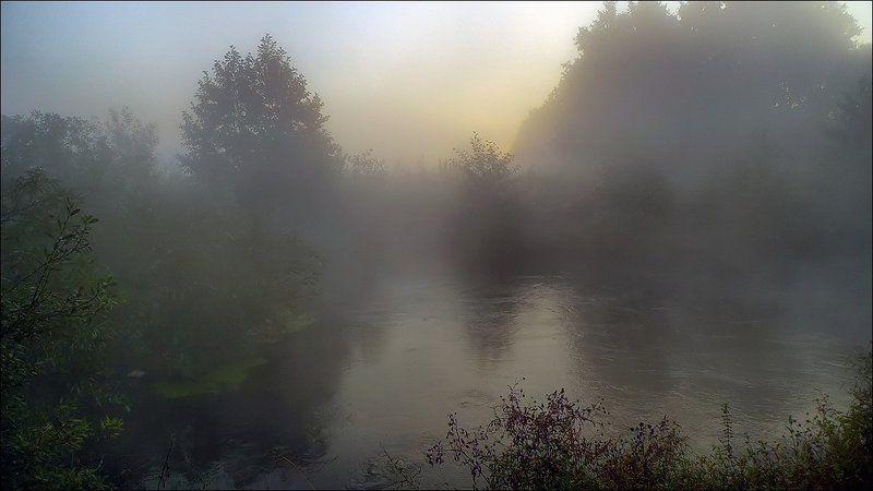 осень, утро, туман, рассвет, река, пехорка Предрассветный часphoto preview