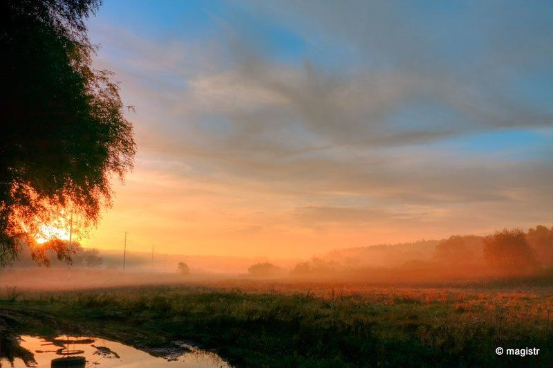 люботин, рассвет, туман, солнце на рассветеphoto preview