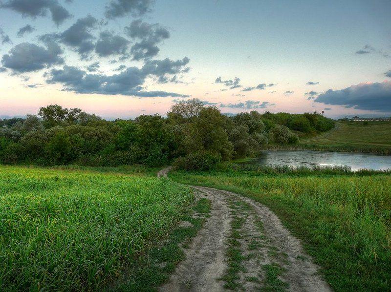 пейзаж, поле, дорога, пруд photo preview
