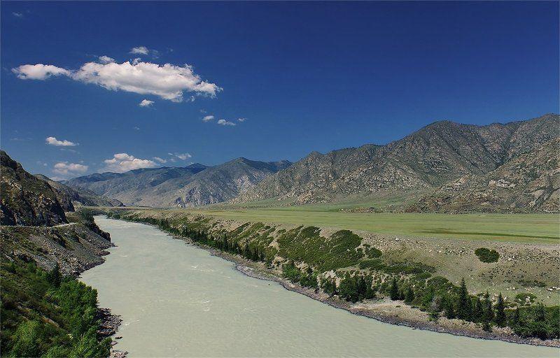 алтай, катунь, горы Речная долинаphoto preview