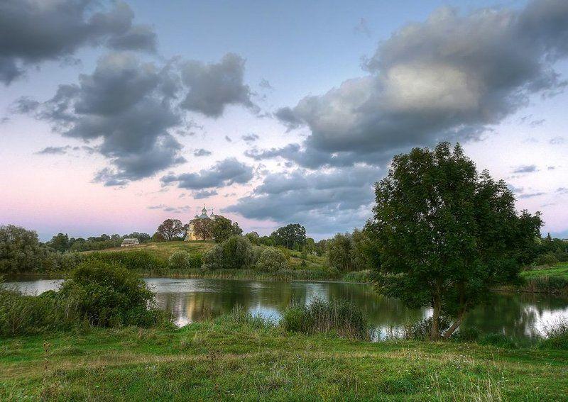 пейзаж, пруд, облака, церковь photo preview